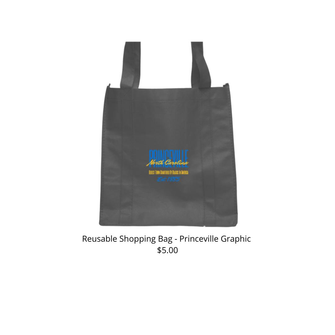 Reusable Shopping Bag Black w/ Yellow & Blue Princeville Design